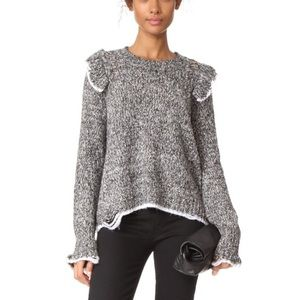 WILDFOX Ruffle Sleeve Fitted Grey & White Sweater